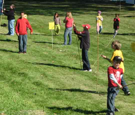 Atlatlists of all ages and abilities enjoy the atlatl range at the Chimney Point Museum