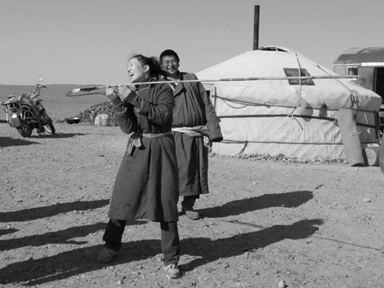A young woman in Mongolia tries a Catatonk atlatl!