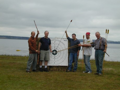 John Morris (far right) with fellow atlatlists competing in an ISAC contest at Chimney Point Historic Site.  (Photo Courtesy of Chimney Point)