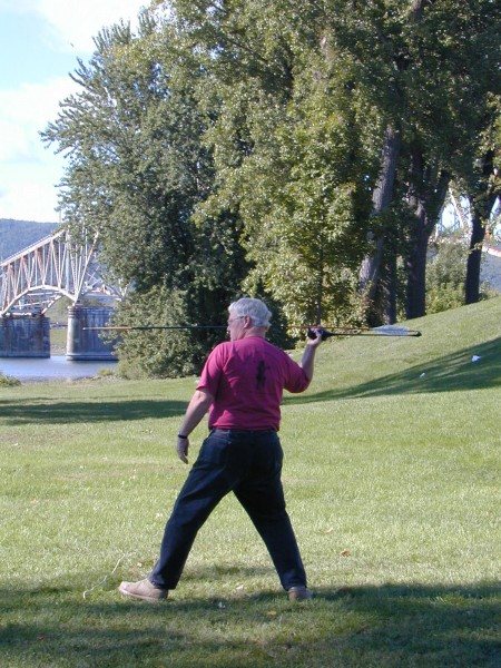 John Morris demonstrating his atlatl skills at the Chimney Point Historic Site in Addison, Vt. (Photo Courtesy of Chimney Point)