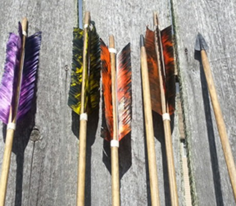 Seven foot hunting darts manufactured in the Thunderbird Atlatl shop. Darts are shipped with field points for practice. Hunting points are included in the package to be attached when ready for use.