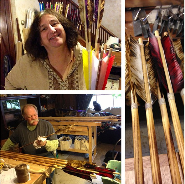 Bob and Cheryll Berg at Work in the Thunderbird Atlatl Shop.