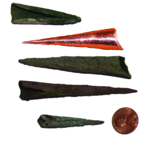 The old and new - Copper Points. Comparison of authentic points with copper point made by Bob Berg of Thunderbird Atlatl