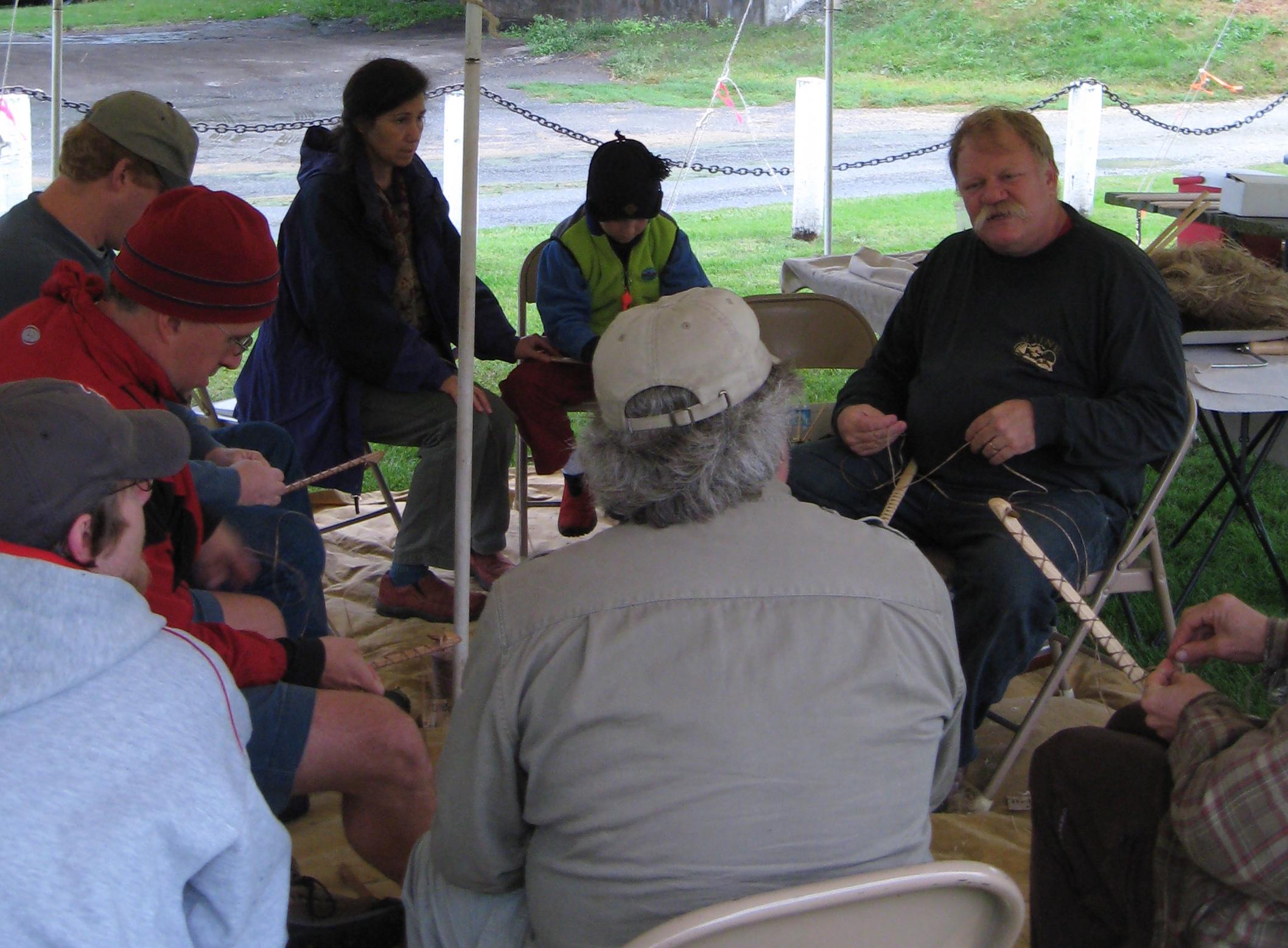 Bob Berg leads an atlatl workshop in Vermont