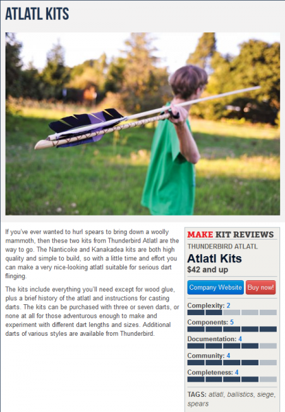 Our Kanakdea Atlatl Kit with a dart kit as featured in Make Magazine
