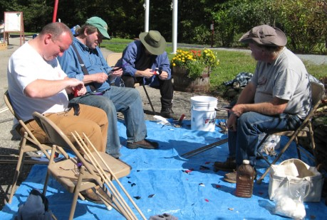 Bob Berg of Thunderbird Atlatl leads a workshop in Vermont.