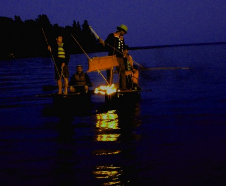 Night Fishing at Drummond Island with birch bark torches at the Great Lakes Traditional Arts Gathering.