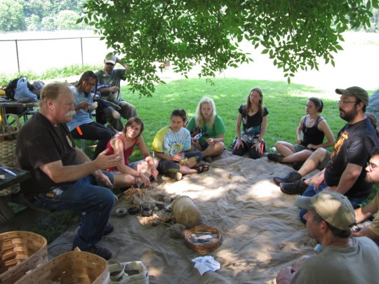 Primitive Pursuits campers enjoyed a day of using atlatls, making atlatls and darts and learning how to make stone tools with hafting resin.